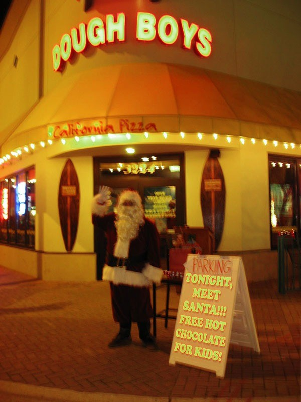 Santa at the 33rd street location of Dough Boy's Pizza Virginia Beach Oceanfront