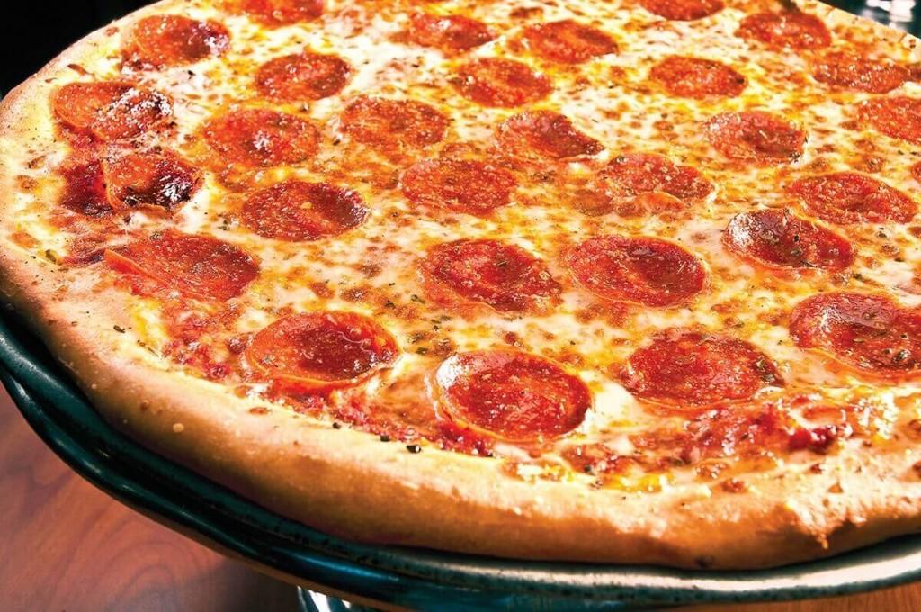 Pepperoni pizza at Dough Boy's Pizza Virginia Beach Oceanfront