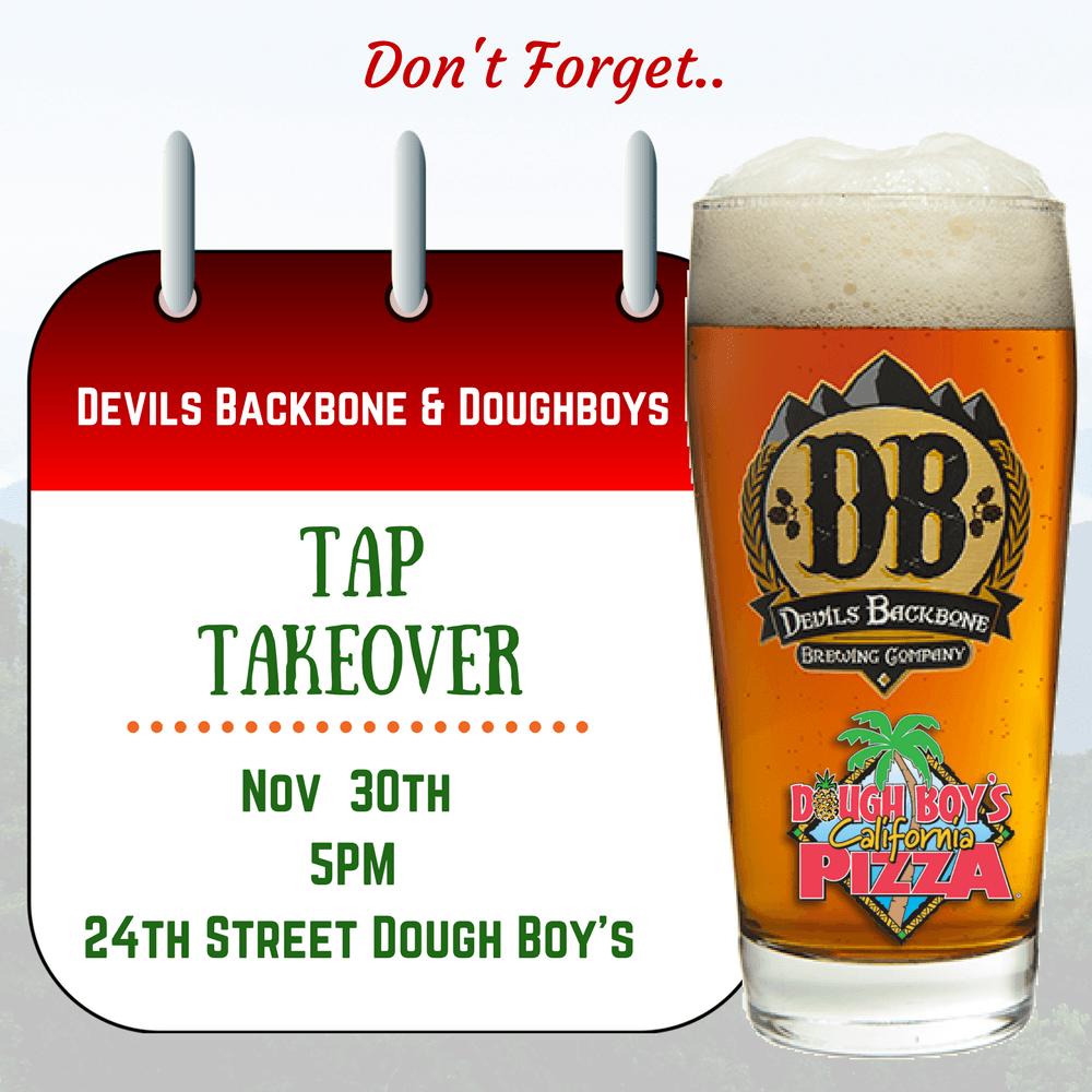 Devil's Backbone Brewing company Nov. 30th 5 pm at Dough Boy's Pizza Virginia Beach Oceanfront