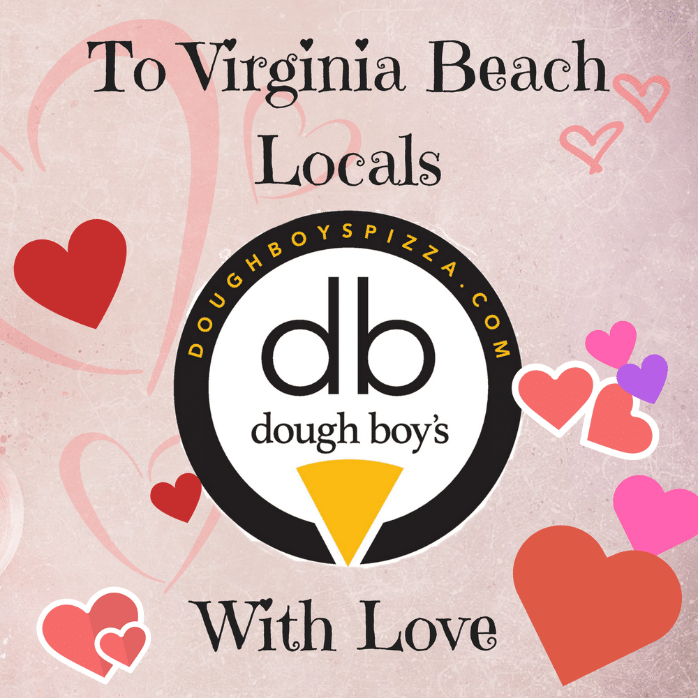Virginia Beach locals with love - free pizza from Dough Boy's Pizza Virginia Beach Oceanfront